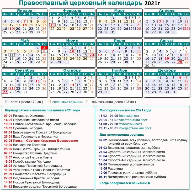 Православный церковный календарь 2021 год